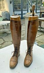 Pair Of Vintage Antique Leather Equestrian Riding Boots And Stretchers