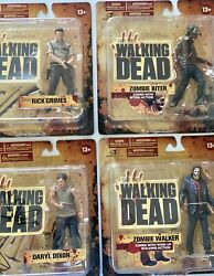"""Mcfarlanesamctv Series 1 """"the Walking Dead"""" Action Figures Lot Of 4 W/ Autograph"""