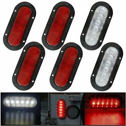 6 Oval White/red Surface Mount 6 Led Trailer Truck Boat Stop Reverse Tail Light