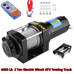 4000 Lb Electric Winch 12v Atv Towing Truck Trailer Boat Pound 2 Ton