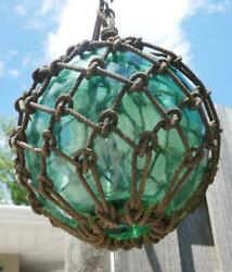 Antique Vintage Nautical Japanese Hand Blown Green Glass Fishing Float Buoy Lrg
