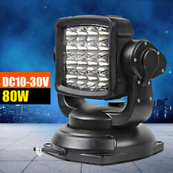 80w Remote Control Flood Led Search Light Offroad Marine Boat Car Us Sale 360anddeg
