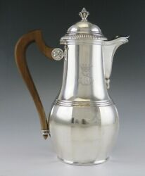 Antique Late 19th Century French 950 Sterling Silver And Wood Tea Or Coffeepot