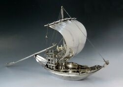 Finely Hand Crafted Portuguese 833 Silver Square Sailed Cog Fishing Boat Ship