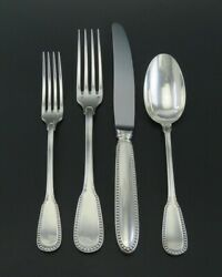 French 950 Silver Ercuis Lafayette 4pc Flatware Place Setting Forks Spoon Knife