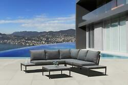 Gray Outdoor Sectional Set With Coffee Table Modern Contemporary Patio Furniture