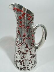 Alvin Claret Jug - R3835 - Antique Decanter - American Red Glass Silver Overlay