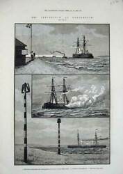 Original Old Antique Print 1881 H.m.s Inflexible Portsmouth Gilkicker Compasses