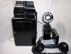 Western Electric 211 Black Space Saver Wall Phone Rotary Dial W/subset 534a