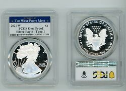 2021 W Silver American Eagle 1 Type 1 Pcgs Gem Proof West Point Mint