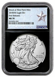 2018 W Silver Eagle Struck West Point Ngc Ms70 Fr Black Core Silver Star Label