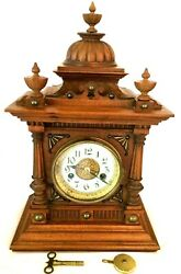"""Antique Mantle Clock, 8-day Time And Strike.""""greenwich""""by Junghans Wurttemberg,ger"""