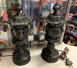 Lot Of Two 2 Early 20th Century Japanese Bronze Urns Mounted As Lamps.