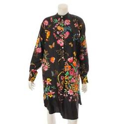 Authentic Silk Floral Shirt Dress 549925 Black Size 36 Used Grade A