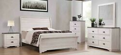 Contemporary Grey Finish 4pc Queen Curved Hb Fb Bed Dresser Mirror Ns Set New