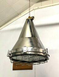 Stainless Steel Silver Vintage Conical Ceiling Pendant Ship Light Lot Of 10