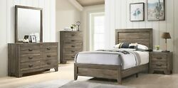 Contemporary 4pc Twin Size Recessed Hb Fb Bed Dresser Mirror Ns Set Grey Finish