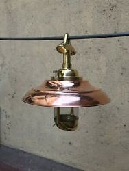 Nautical Vintage Style Hanging Bulkhead Brass And Copper Shade New Light Lot 10