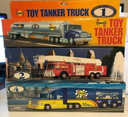 Vintage Sunoco Collectibles-and03994 Tanker/and03995 Fire Truck/and03997 Racing Team W/car Nib