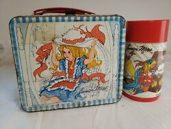 Vintage 1973 Junior Miss Tin Lunchbox Complete With Thermos.