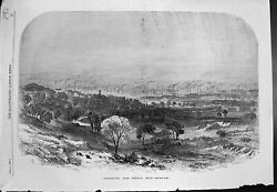 Antique Old Print Manchester From Kersall Moor Smoke Chimneys Factories 1857