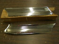 Oem Ford 1963 Galaxie Roof Top Base Mouldings Pair Ornaments Chrome Trim Nos