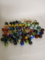Lot Of Cats Eye Black Spotted Agate Various Glass Marbles