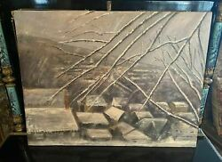 Vintage Antique Frederick Carder Steuben Oil Painting Snowy Roof Tops