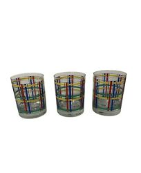 Georges Briard 3 Drink Bar Glasses Mcm Square Color Blocks Red Green Blue Yellow