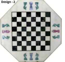 16and039and039 Antique White Marble Chess Table Top Inlay Children Game Bft