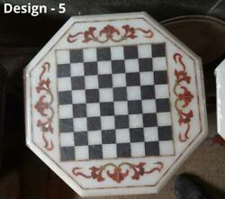 18and039and039 Antique White Marble Chess Table Top Inlay Children Game Jgx