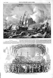 Old Antique Print 1852 Sea Storm War Ships Boats Engineers Martin's Hall 19th
