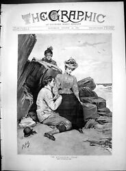 Old Print An Approaching Storm Bernard Hall Couple Hand Hing Mother 1890 19th
