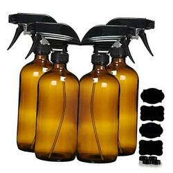 Glass Spray Bottles For Cleaning Solutions - 16 Ounce, 4 Pack Amber