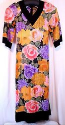 Size S Floral Muumuu Dress Robe Holly Gloria Moret Of California Vtg 60and039s 70and039s