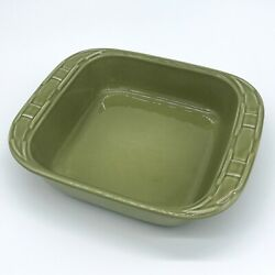 Longaberger Pottery 8x8 Sage Green Baking Dish Woven Traditions