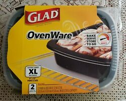1 Pack Glad Ovenware Containers2 Xl Pans W/ Lids Oven Ware Baking Dishes