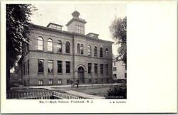 1900s Freehold, New Jersey Postcard High School Building / Street View / Unused