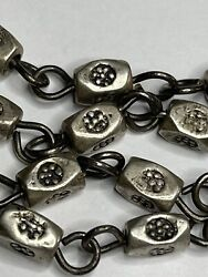 Anddagger Heavy Vintage Sterling Vatican Etched Beads Rosary Style Necklace 26 62 Grs Anddagger