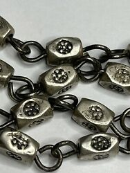 † Heavy Vintage Sterling Vatican Etched Beads Rosary Style Necklace 26 62 Grs †