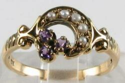 9k 9ct Gold Amethyst And Pearl Sun And Moon Crest Art Deco Ins Ring Free Resize