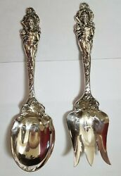 Reed And Barton 'love Disarmed' Sterling Silver Salad Serving Fork And Spoon Set