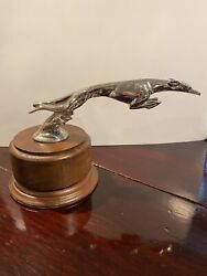 1930s Ford / Lincoln Greyhound Hood Bazin Style Ornament With Base .
