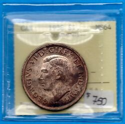 Canada 1938 1 One Dollar Silver Coin - Iccs Ms-64 Toned