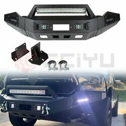 Offroad Front Bumper Guard W/ D-rings Led Lights Winch Plate For 13-18 Dodge Ram