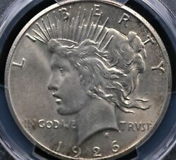 1926 Peace Dollar Pcgs Ms 63 Creamy Satin White Luster With Very Clean And Well