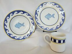 2 Pottery Barn Hand Painted Yellow And Blue Wave Fish Dinner Plates, Bowls, Cups