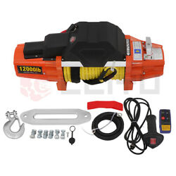Electric Towing Winch 12000lbs Synthetic Rope W/ Wireless Remote Atv/utv