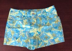 Lilly Pulitzer Womenand039s Shorts Size 2 Retail 125 Green Blue Design Belt Loop