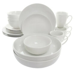Elama Owen 18 Piece Porcelain Dinnerware Set With 2 Large Serving Bowls In Wh...